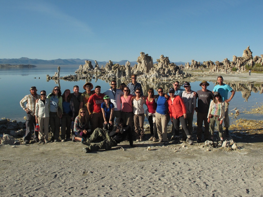 Group shot in front of Tufa Towers at Mono Lake, California. Photo by Mike Young.